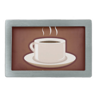 GOOD MORNING BROWN COFFEE DRINKS CAPPUCCINO MOCHA RECTANGULAR BELT BUCKLE