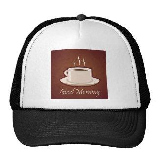 GOOD MORNING BROWN COFFEE DRINKS CAPPUCCINO MOCHA MESH HATS