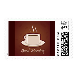 GOOD MORNING BROWN COFFEE DRINKS CAPPUCCINO MOCHA POSTAGE STAMP