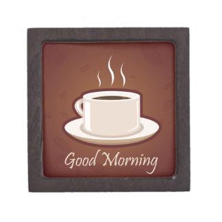 GOOD MORNING BROWN COFFEE DRINKS CAPPUCCINO MOCHA PREMIUM KEEPSAKE BOXES