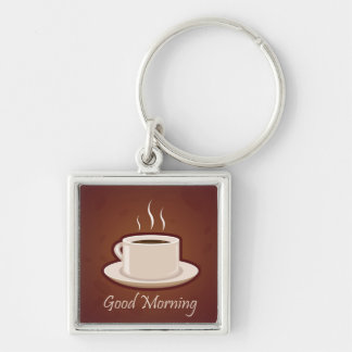GOOD MORNING BROWN COFFEE DRINKS CAPPUCCINO MOCHA Silver-Colored SQUARE KEYCHAIN