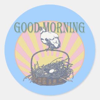 Good Morning Chicken Classic Round Sticker