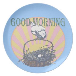 Good Morning Chicken Melamine Plate