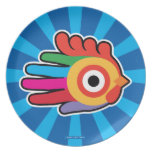Hand shaped Good Morning Colorful Rooster Dinner Plate