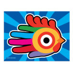 Hand shaped Good Morning Colorful Rooster Postcard