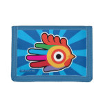 Hand shaped Good Morning Colorful Rooster Tri-fold Wallet
