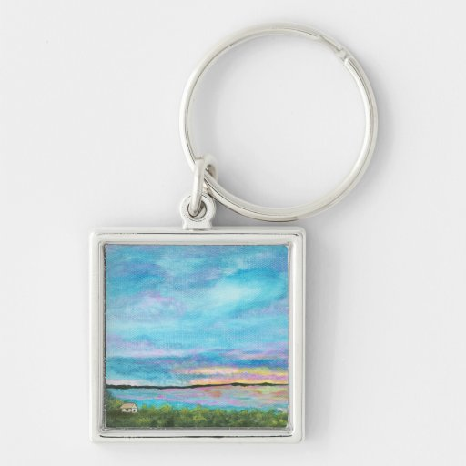 Good Morning From Original Abstract Painting Small Key Chain