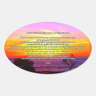 Good Morning God prayer Sticker Oval Sticker