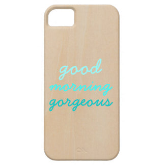 Good morning gorgeous funny hipster ombre wood iPhone 5 cover
