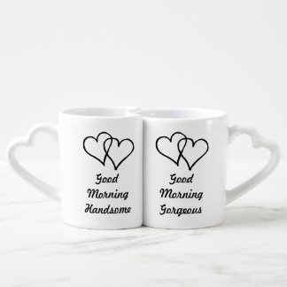 Good Morning Gorgeous Handsome his and hers heart Coffee Mug Set
