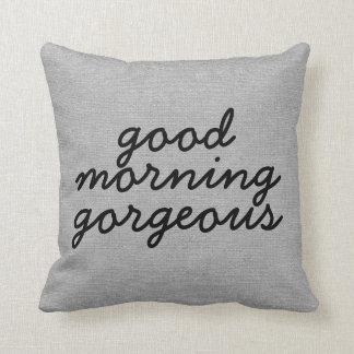 Good morning gorgeous rustic chic burlap linen jut throw pillow