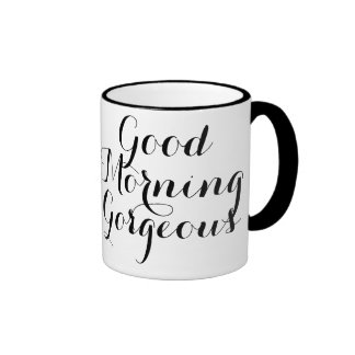 Good Morning Gorgeous with Black/White Typography Ringer Coffee Mug
