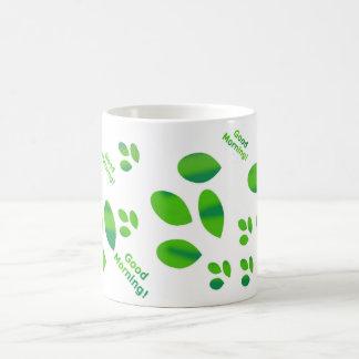 Good morning in shades of green coffee mug