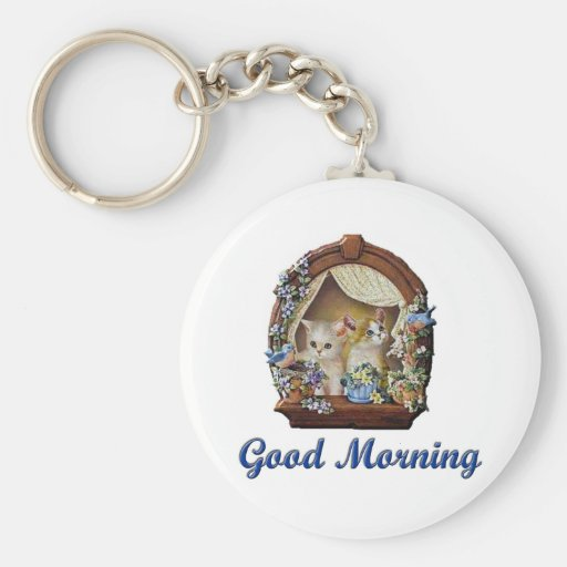 Good Morning Kittens Basic Round Button Keychain