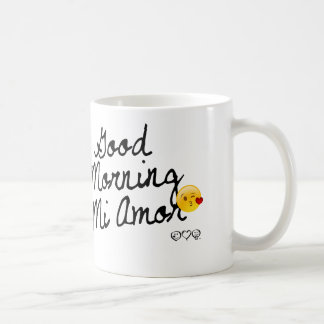 Good Morning Mi Amor! With kissy face smiley Mugs