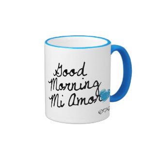 Good Morning Mi Amor! With light blue heart Mugs