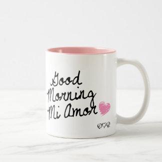 Good Morning Mi Amor! With pink heart Mugs