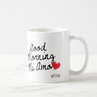 Good Morning Mi Amor! With red heart. Coffee Mugs