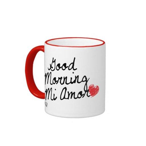 Good Morning Mi Amor Images : Good morning mi amor with red heart ringer coffee mug