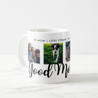 Good Morning | Modern Typography Four Photo Grid Coffee Mug