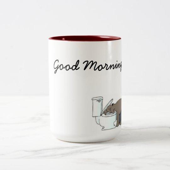 good morning, next day, puke Two-Tone coffee mug