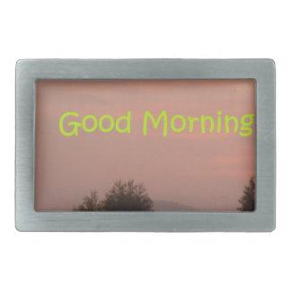 Good Morning Rectangular Belt Buckle