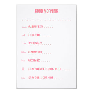 Good Morning Routine Checklist / Pink 5x7 Paper Invitation Card
