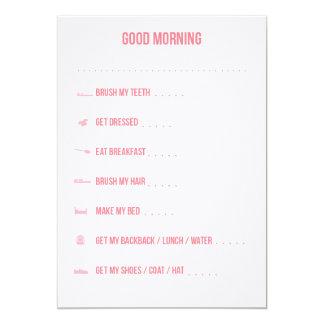 Good Morning Routine Checklist / Pink 5x7 Paper Invitation Card