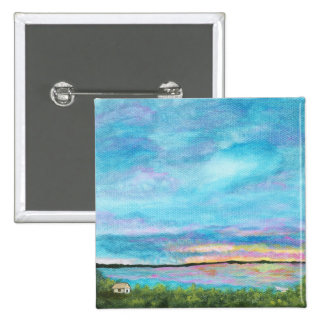 Good Morning Square Pin From Original Abstract