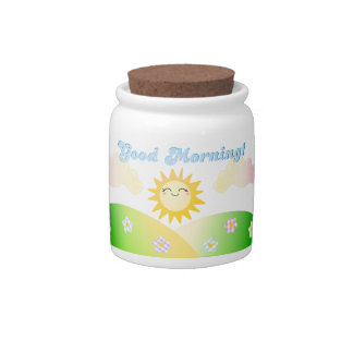 Good morning sunny breakfast sugar jar / cannister candy dish