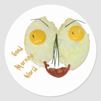 Good morning world egg face classic round sticker