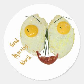 Good morning world egg face sticker