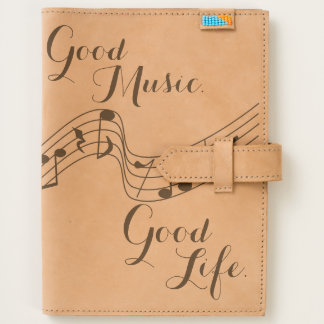 """Good Music. Good Life."" Phrase with Musical Notes Journal"
