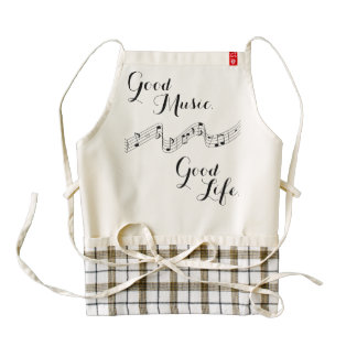 """""""Good Music. Good Life."""" Phrase with Musical Notes Zazzle HEART Apron"""