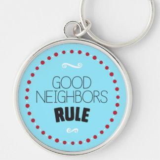 Good Neighbors Rule Keychain – Blue