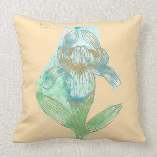 Good News Iris flower, Floriography Inkblot Art Throw Pillows