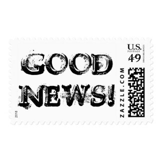 Good News! Postage Black and White Typography