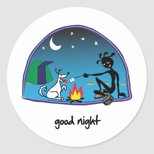 """Good Night!"" Classic Round Sticker"