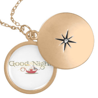 Good Night Mouse and Candle Gold Plated Necklace