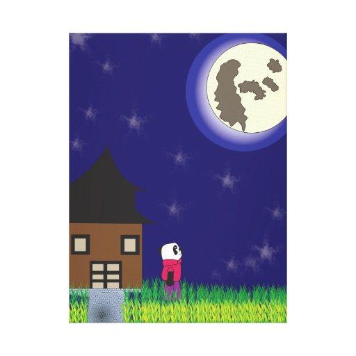 Good Night Panda Wrapped Canvas Canvas Prints