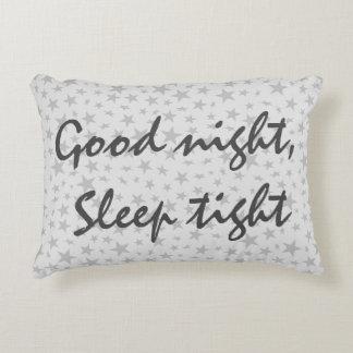 Good Night Sleep Tight Gray Stars Decorative Pillow
