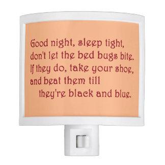 """Good night, sleep tight"" Poem Night Light"