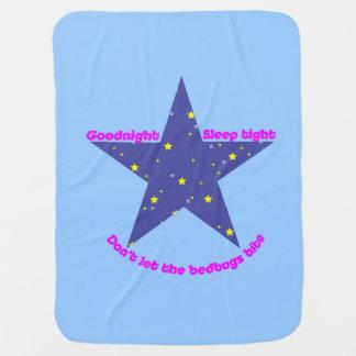 Good Night Sleep Tight Star - blue background Baby Blanket