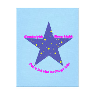 Good Night Sleep Tight Star - blue background Canvas Print