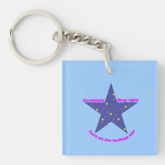 Good Night Sleep Tight Star - blue background Keychain