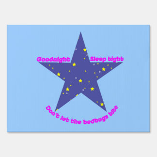 Good Night Sleep Tight Star - blue background Lawn Sign