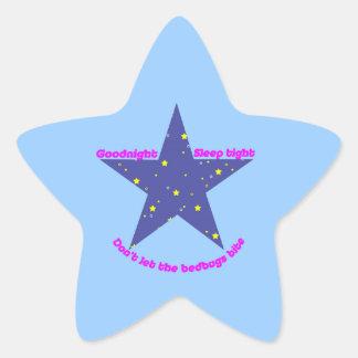 Good Night Sleep Tight Star - blue background Star Sticker
