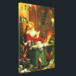 """Good Old Santa Claus Canvas Print<br><div class=""""desc"""">A charming vintage Christmas canvas print featuring Santa Claus reading lists of wishes surrounded by his diligent elves.</div>"""