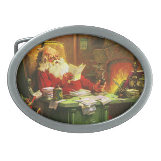 Good Old Santa Claus Oval Belt Buckle