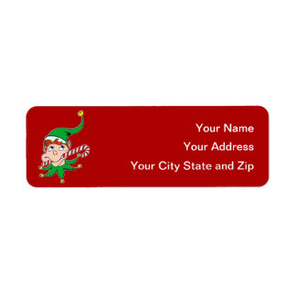 Good Pixie on Dark Red Mailing Label